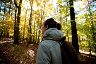 Milton, Mass., Oct. 25, 2014: Harriet Napier of Middlebury, Vt. walks through the Blue Hills Reservation, an over 7,000-acre state park that includes parts of Milton, Quincy, Braintree, Canton, Randolph, and Dedham.