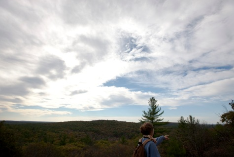 Milton, Mass., Oct. 25, 2014: Harriet Napier of Middlebury, Vt. stands on Skyline trail in the Blue Hills Reservation. The reservation is an over 7,000-acre state park that includes parts of Milton, Quincy, Braintree, Canton, Randolph, and Dedham.
