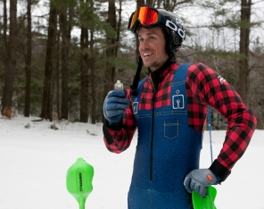 Andrew McNealus, a friend and fellow alpine ski racer from Vermont, uses UnTapped Slopeside Syrup packets for a boost of energy during training and races.